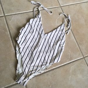 Billabong black and white striped swimsuit